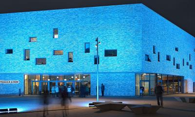 Stadthalle Lohr bei Nacht